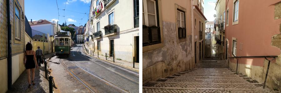 Une ruelle et un tram à Lisbonne