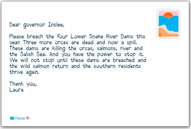 Gouverneur Inslee à contacter pour détruire les barrages de snake river