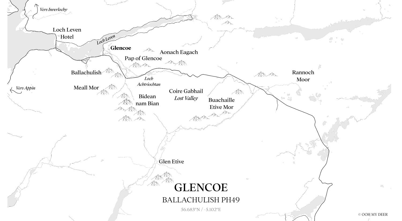 Carte de Glencoe en Ecosse
